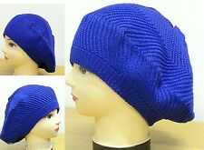 Royal Blue Lady Womens Cool Knit Crochet Ski Cap Beanie Beret Hats