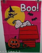 Peanuts Snoopy Dog Woodstock Halloween BOO Pumpkin 12 x 18 Garden Flag Flags New