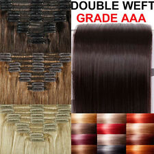 180G Very THICK Clip In Remy Human Hair Extensions Full Head Double Weft Top A19