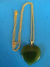 Vintage Gold Fill Spinach Green Jade Gemstone Heart Pendant Necklace