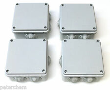 4 x 100mm square x 50mm deep electrical junction box grommets weatherproof IP56
