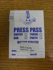 14/08/2010 Ticket: Oldham Athletic v Notts County [Press Pass]. Bobfrankandelvis