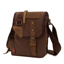 Men's Brown Vintage Casual Canvas Leather Shoulder Bag Messenger Hiking Satchel