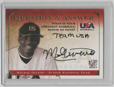 MYCHAL GIVENS Orioles SIGNED 2007 USA Baseball Q&A Autograph SP RC ON CARD AUTO