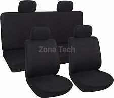 Zone Tech 8 Piece Black Universal Fit Lowback Flat Cloth Car Auto Seat Covers