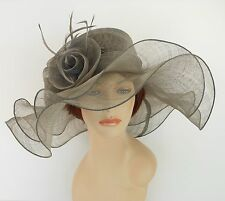 New Church Derby Wedding Sinamay 2 Layers Dress Hat S10-2213 Gray