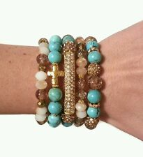 WOMAN TURQUOISE CREAM CROSS BEAD GOLD PAVE METAL BAR STRETCH STACK BRACELETS SET