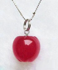 Lovely Red Jade 18KWGP Apple Pendant and Necklace