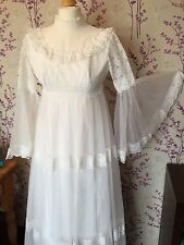 Vintage 70s Nylon Lace Wedding Dress High Standing Collar Victorian Bell Sleeve