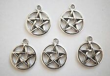 10 Antique Silver Colour Pentagram Charms/Pendants - 20mm x 17mm