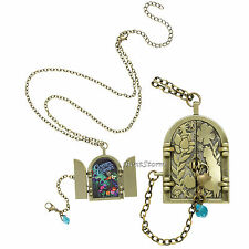 DISNEY Alice in Wonderland Curious Door Locket Pendant Necklace Gold Tone NEW