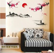 Asia Inspired Large Red Tree Branch Wall Art Stickers Decals Mural Stencil Home