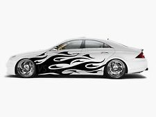 Vinyl Car Side Body Graphics Decal Sticker Flame Black fit any auto