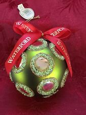 NEW FLAWLESS Exquisite WATERFORD Christmas Ice Bead Lime Green BALL Ornament
