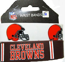 CLEVELAND BROWNS SILICONE WRIST BANDS BRACELETS NEW 2 PACK