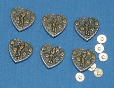 Cowgirl Heart Concho Screw Back Fitting 25mm 6 pack Craft larp Leathercraft