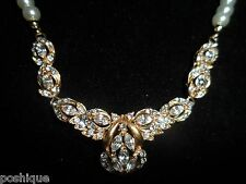 Imitation Pearl Gold Tone Rhinestone Crystal Necklace Choker Vintage Bridal Chic