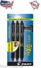 Pilot 3-Pack Black FriXion Ball Clicker Fine Point Retractable Erasable Gel Pens