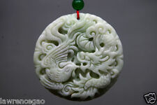 Chinese natural jade fine carved Dragon phoenix jade pendant