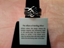 avon sterling silver woven black and clear cz ring size 10 plus free shipping