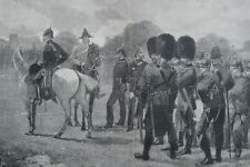 1880 Two Large Antique Prints - ROYAL MILITARY REVIEWS, WINDSOR - Dragoon Guards
