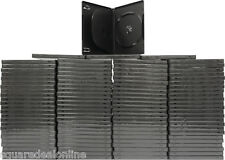 (100) DV3R14BKWT Black Triple 3 DVD 3DVD Disc Cases Boxes SLIM 14mm Hinged Tray