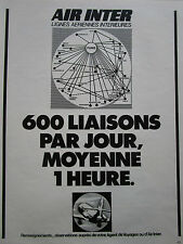 4/1974 PUB COMPAGNIE AERIENNE AIR INTER AIRLINE CARAVELLE AIRLINER  FRENCH AD