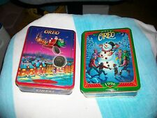 "1995 and 1996 Oreo Cookie Christmas metal Tins ""Unlock the Magic"" - collectible!"