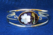Silver Bracelet Floral Abalone & Mother of Pearl Inlays 5 colors available
