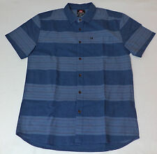 NWT Quiksilver Modern fit S/S Blue W/ Red Striped Button Front Shirt  Med  L604
