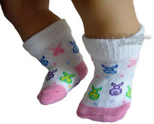 """Easter Footie Socks with Bunnies fits 15"""" Bitty Baby + Twins Doll Clothes"""