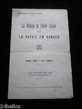 """Jacques FERNY Chanson """"La Défense de l'école laïque ou La Patrie en Danger"""" 1912"""