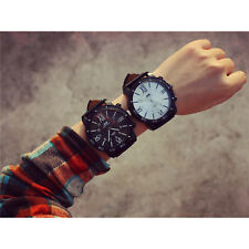 Women Men Big Stainless Steel Dail Faux Leather Band Quartz 2015 New Wrist Watch