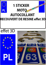 1 sticker plaque immatriculation MOTO DOMING 3D RESINE GRECE POLOGNE PL