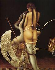 Michael Parkes PUPPETMASTER nude woman swan tiger fantasy surreal art print