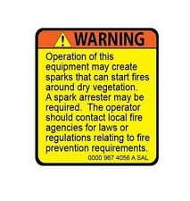 Stihl Spark Arrest Warning Label Chainsaw Decal/Sticker Arborist Climbing