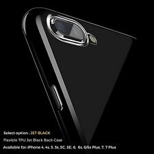 JET BLACK Case For Apple iPhone 7 6 6s 7 Plus 5S 4S Thin Slim Gel Silicone Cover
