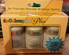 deColourant Plus.For Precision Fine-Line Discharge Dyeing.3 x 74ml.BRAND NEW