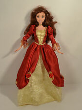 """1999 Belle in Red Christmas Dress 12"""" Action Figure Doll Disney Beauty & Beast"""