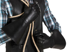 MENS LADIES JEDI MEDIEVAL LARP COWBOY FANCY DRESS LONG BLACK GAUNTLET GLOVES NEW