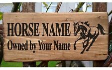 Personalised Horse Pony Stable Door Sign Name Plate Plaque Horse Box Rustic New