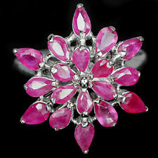 Sterling silver 925 Genuine Natural Rich Pink Ruby Gemstone Ring Size R (US 8)