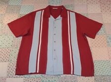 PARADISE COLLECTION 100% Silk Red & Blue Vintage Look Bowling Shirt Sz XL.