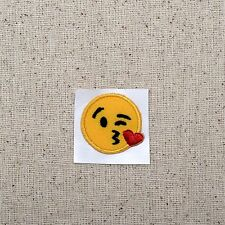 Iron On Embroidered Applique Patch - Smiley Face Emoji Blowing Kiss Cheek SMALL