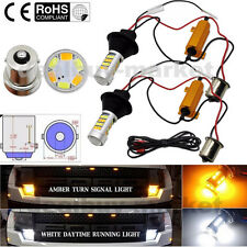 2x BA15S 1156 P21W S25 42SMD Switch back LED White DRL & Amber Turn Signal Light