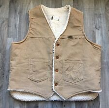 WRANGLER Mens Vest CORDUROY SHERPA LINED USA MADE Brown XL Warm WESTERN