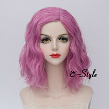 Fashion Gray Pink 35CM Medium Curly Lolita Women Ladies Cosplay Party Wig