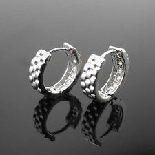 18k White Gold Filled Earrings 15mm 5mm Hoop Unique GF Charm Fashion Jewelry New