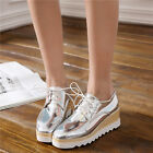 Stylish Womens Platform Lace Up Patent Leather College Shoes Creeper Wedge Heels