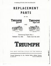 Triumph Parts Manual Book 1954 Terrier T15 & 1954 Tiger Cub T20